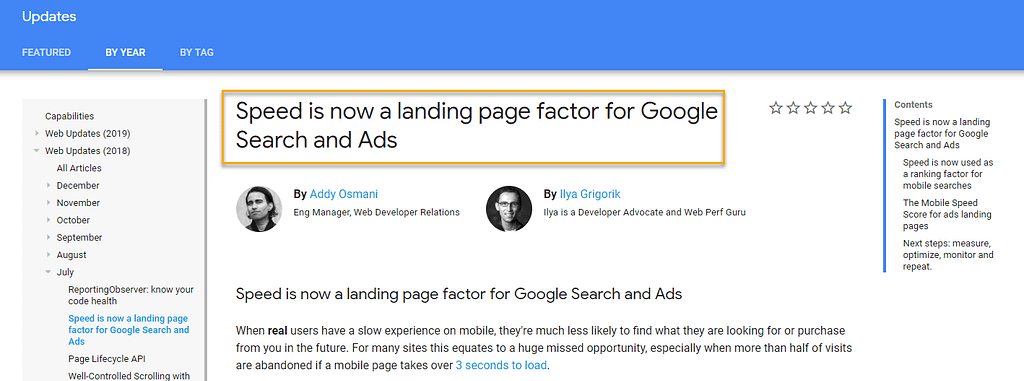 Google blog post about mobile ranking