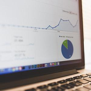 Google Analytics laptop stock image