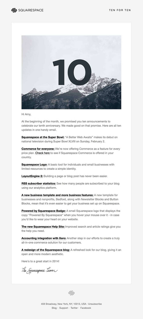 squarespace newsletter