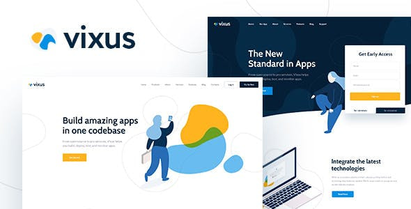 vixus startup mobile app wordpress landing page themefd