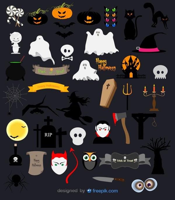 halloween design elements vector icon pack