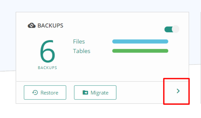 Backups in the Dashboard