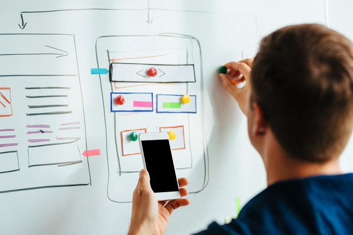 Web designer planning responsive website for Graphical Ideas That Add Trust Factor to Your Landing Pages