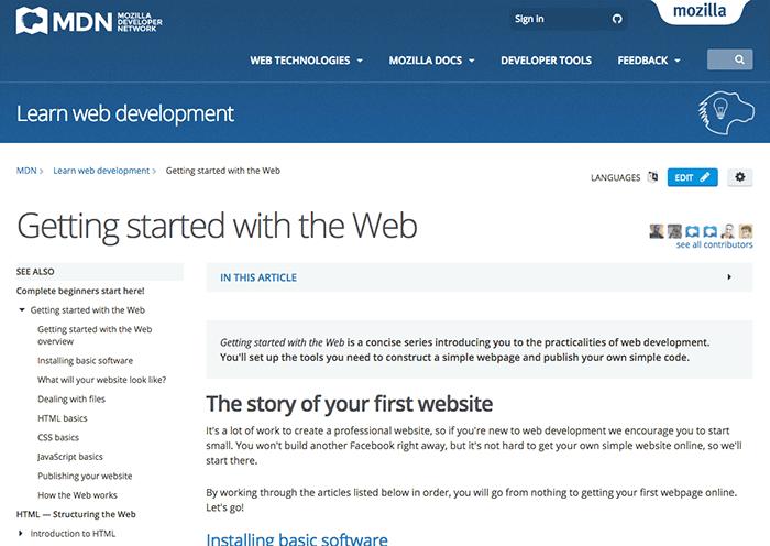 learn web development getting started mdn