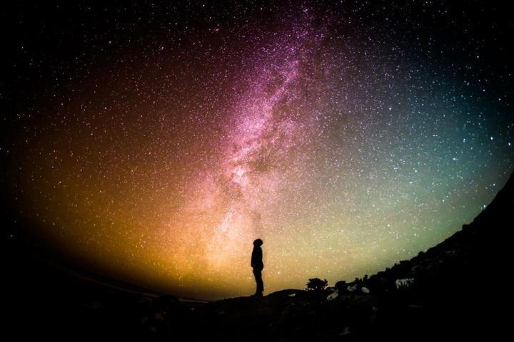 silhouette person sky night milky way cosmos  pxhere