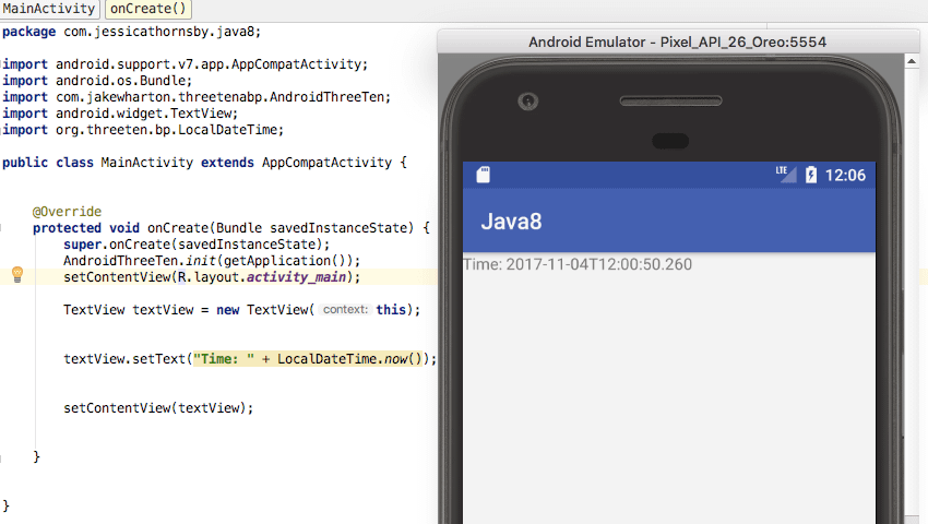 java  for android time and date ThreeTenABP