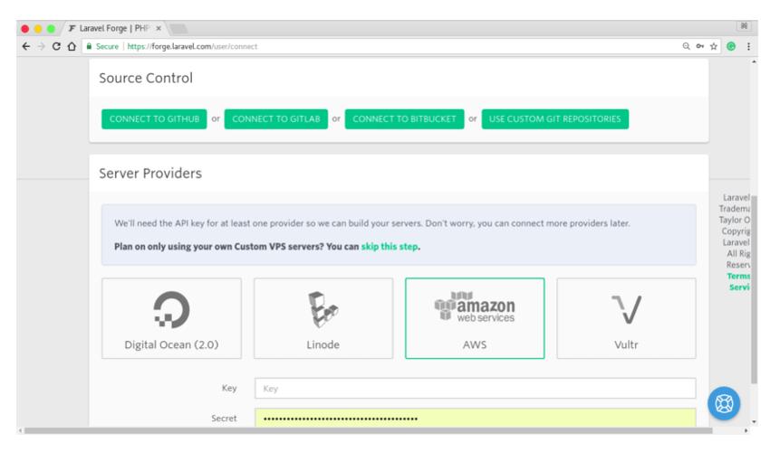 Deploy PHP Web App Laravel Forge Main Screen