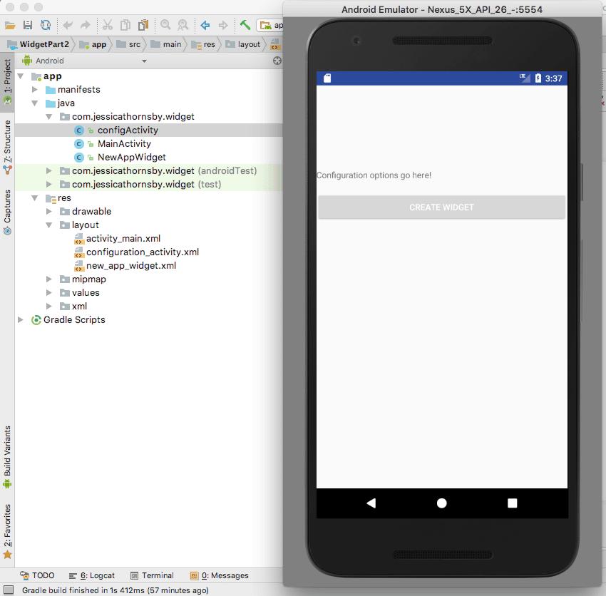 android app widget configuration activity