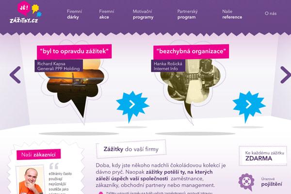 fancy purple color scheme website design zazitky.cz