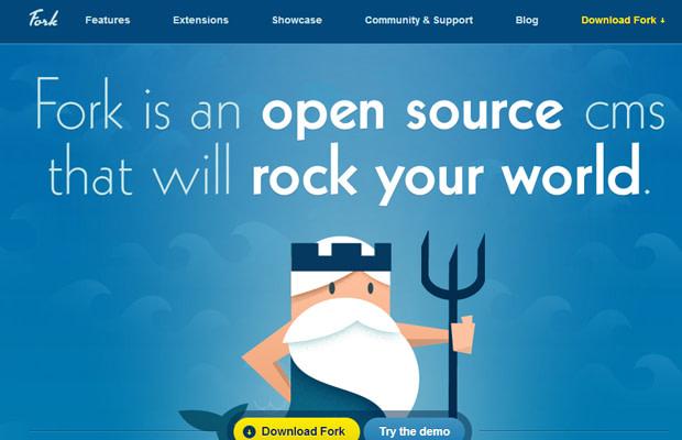blue website fork cms layout inspiring design