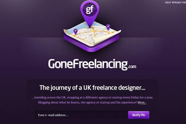 purple website landing page webapp Gone Freelancing