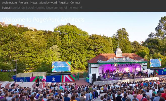 page park fullscreen website layout